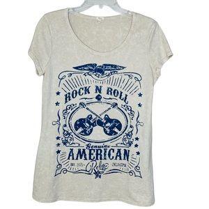 Reba Beige Rock & Roll Guitars T Shirt Medium